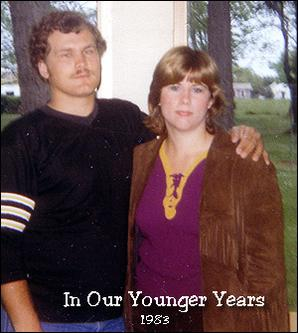 A 20 (or so) year old me, he a year and half older.  Neither of us look terribly happy.  I know that I was not.