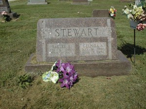 Headstone of Walter & Delphia Jones Stewart