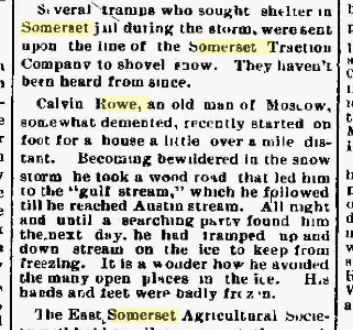 Calvin Rowe, my 2nd Great Uncle, article from the Bangor Daily Whig & Courier, from Bangor, Maine.  12 Feb 1898.