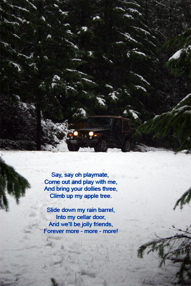 This is not a great photo.  But, the sentiment is fantastic.  We have had so much fun going all over the back roads in this Jeep. It has taken us across rivers (literally through them), and over ice and snow.  It had some problems but it was a good machine.  Clyde choose this jeep because it was the closest thing he could find to the military model jeep he drove while in the Army.  I did not like Jeeps before meeting him.  I thought they were about the ugliest things on earth.  But, because it was so much fun going out and investigating our world in, I learned to love Jeeps.  The comradery between Jeep people is really cool too!  We had to sell the Jeep.  We went 'missing' in 2017.  We got stuck in about 4-6 inches of snow while driving our Subaru Legacy.  It would not have gotten stuck except that we were on a donut.  We were 'missing' for three days before Clyde walked 12 miles to get help.  Our son and a Jeep full of friends were supposedly out looking for us with our Jeep.  Our son has no drivers license.  So a friend was driving.  The friend decided to test it and see if it could do what it was 'built' to do.  We are talking about 25 & 26-year-old 'kids' here.  Needless to say, they tore the rear end out, wrecked the spider gears, and trashed the transmission.  We put $2K into it before he called it quits.  The shop that rebuilt the rear end probably could have told us what else we needed to do, but they told us it was fixed.  I would never name names, but don't take your Jeep to Mobile Tune in Roseburg.   The memories are good, and we two playmates will find many other ways to play, I am sure.