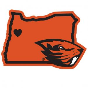 Go Beaver's (Decal--Beaver head on a Oregon shaped background). Oregon State University, Corvallis, Oregon.