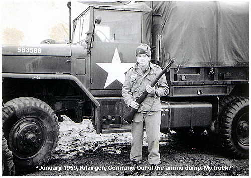 photo of Alvin Rowe at Kitzergen, Germany @the Ammo Dump with his Truck (Service in the Army)