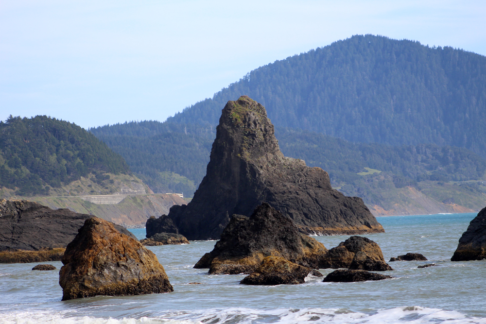 Looking South from Port Orford (Harbor? Cove?).  Highway 101 is in the background.