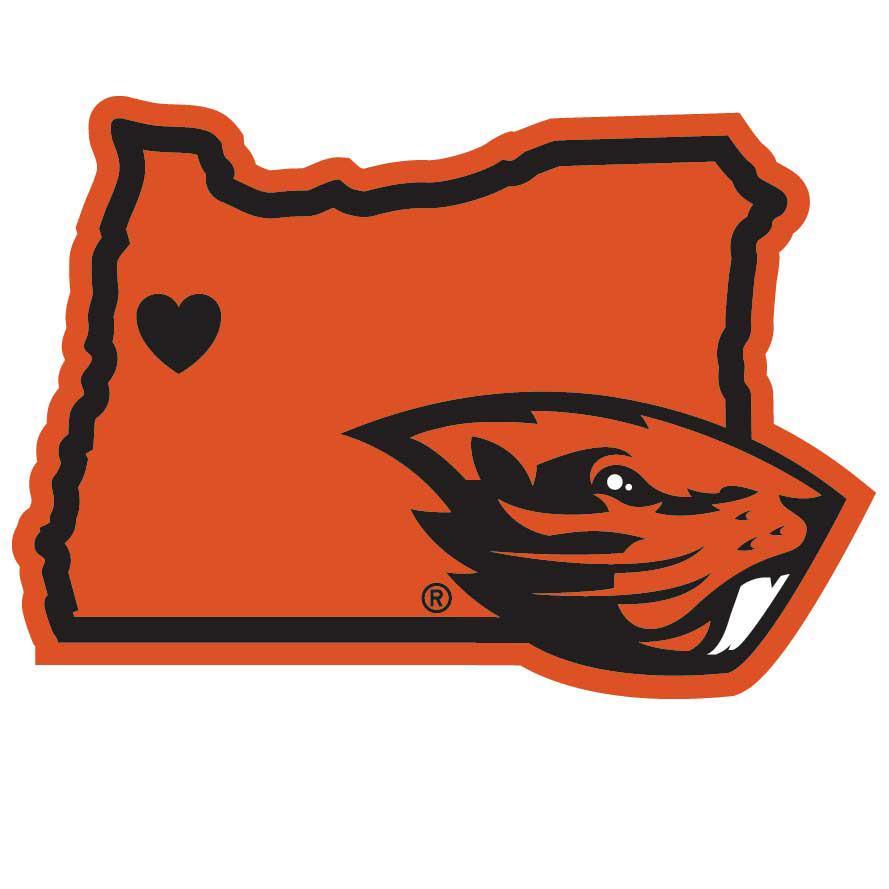 Go Beaver's (Decal--Beaver head on a Oregon shaped background).  Oregon State University, Corvallis, Oregon.