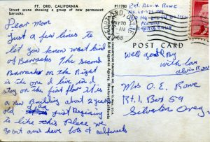 Back side of postcard of photo of Fort Ord, California.